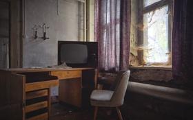 Обои комната, окна, кресло, занавес, солнечный свет, веб