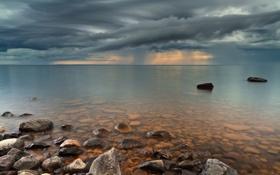 Картинка небо, прозрачность, тучи, шторм, озеро, камни