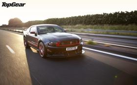 Обои закат, Mustang, Ford, тень, Top Gear, Boss 302, мускул кар
