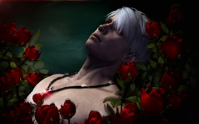 Обои demon, rose, flower, devil may cry