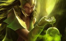 Обои лес, девушка, череп, свечение, арт, броня, ведьма