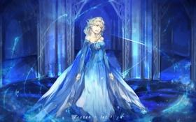 Картинка Девушка, Платье, Снежинки, Frozen, Disney, Art, Elsa