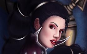 Картинка взгляд, девушка, лицо, волосы, арт, League of Legends, Vayne