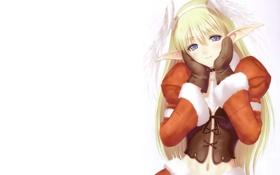 Обои блондинка, эльфийка, варежки
