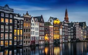 Обои вода, огни, дома, выдержка, Амстердам, канал, Нидерланды