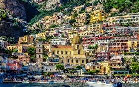 Обои пляж, скалы, здания, катер, Италия, Italy, Amalfi