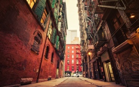 Обои улица, здания, Нью-Йорк, Бруклин, автомобили, городской, Соединенные Штаты Америки