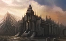 Обои фантастика, сооружение, арт, by cloudminedesign, church of ardird