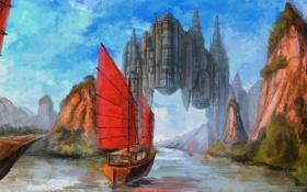 Обои пейзаж, город, река, скалы, корабль, парусник, арт