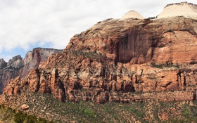 Обои небо, деревья, пейзаж, горы, Zion National Park, Utah, национальный парк Зион