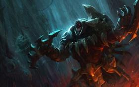 Обои оружие, дождь, арт, ярость, головы, league of legends, rengar
