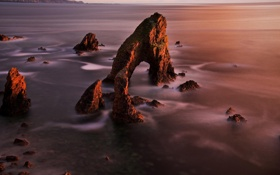 Картинка море, пейзаж, скала, скалы, рассвет, арка