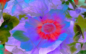 Обои цветок, линии, крвски, природа, лепестки, рендеринг