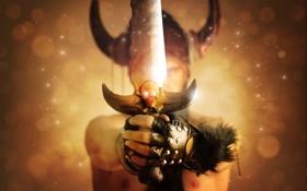 Обои оружие, фантастика, меч, руки, рога, мужчина, Warriors