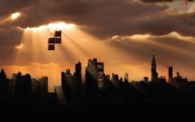 Обои город, креатив, небоскребы, солнечные лучи, тетрис