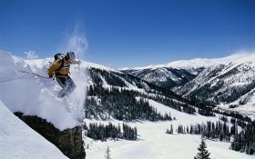 Обои спуск, елки, лыжник, скала