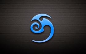Обои голубой, символ, тёмный фон, знак
