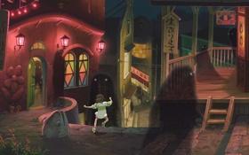 Обои город, миядзаки, spirited away, унесенные призраками, Chihiro
