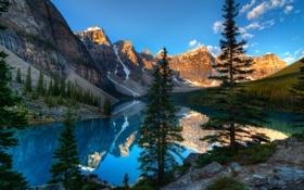 Обои горы, река, лес, озеро, природа