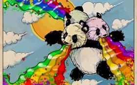 Обои рисунок, панды, лучи счастья