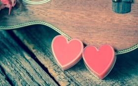 Обои сердце, гитара, love, vintage, heart, romantic