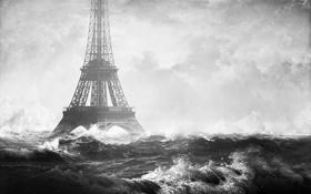 Обои волны, париж, потоп, франция, конец света, эйфелевая башня, новоднение