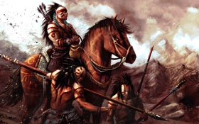 Обои арт, всадник, воины, индейцы, копья