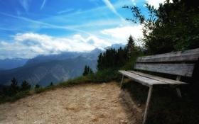 Обои горы, скамейка, природа, фото, пейзажи, вид, красота