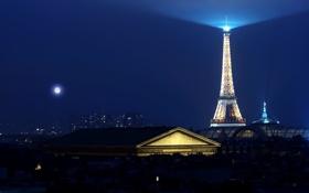 Обои Эйфелева башня, освещение, Париж, ночь, подсветка, луна