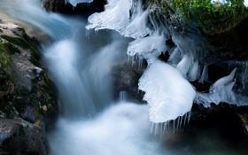 Картинка природа, лёд, река, зима
