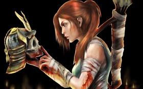 Картинка девушка, кровь, игра, череп, рука, свечи, профиль