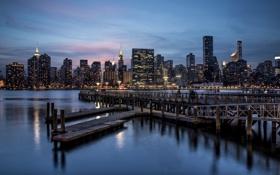 Обои City, город, ночь, New York, Gantry Park