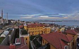 Обои Турция, Стамбул, пролив, Босфор, панорама, дома, мечеть