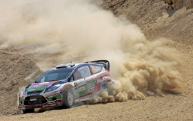 Обои Ford, Пыль, Занос, WRC, Rally, Fiesta, Яри-Матти Латвала