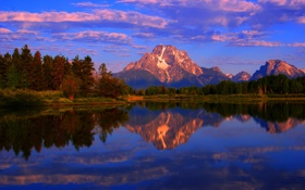 Картинка осень, небо, облака, деревья, закат, горы, озеро