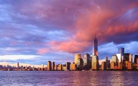 Обои облака, закат, дома, Нью-Йорк, небоскребы
