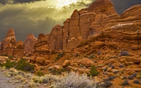 Картинка небо, горы, тучи, камни, скалы