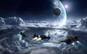 Обои облака, полет, планета, спутник, корабли, Star Citizen