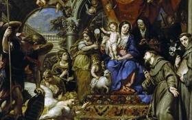 Обои религия, Окруженная Христианскими Добродетелями и Святыми, Мадонна с Младенцем, мифология, картина, Claudio Coello