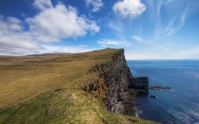 Обои море, обрыв, берег, Исландия