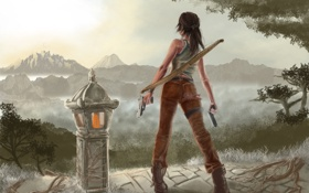 Картинка девушка, оружие, огонь, пистолеты, вид, лук, арт