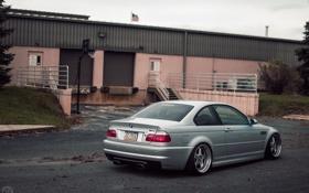 Обои бмв, купе, BMW, серая, E46, stance works