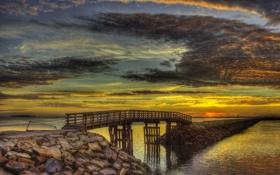 Обои небо, облака, мост, краски, hdr, зарево, дамба