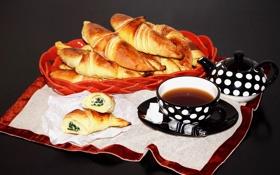Обои чай, выпечка, круассаны, croissant, tea, рогалики, baking