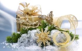 Обои Подарок, золотая, шары, лента, снежинка, ветка, 1920х1200