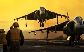 Обои истребители, пара, палуба, штурмовики, AV-8B, Harriers