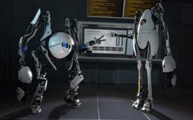 Обои роботы, Portal 2, Coop, камень-ножницы-бумага