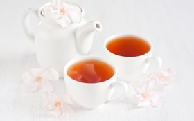 Картинка цветы, чай, чайник, flowers, tea, cups, kettle