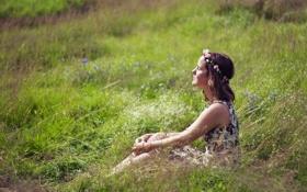 Картинка поле, настроение, лето, девочка