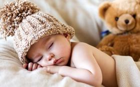 Картинка сон, мишка, ребёнок, шапочка, младенец, мягкая игрушка